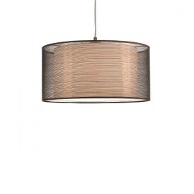 Polished chrome hanging lamp with cloth shade