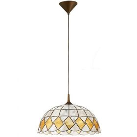 Decorated Madreperla hanging lamp with gold pendel